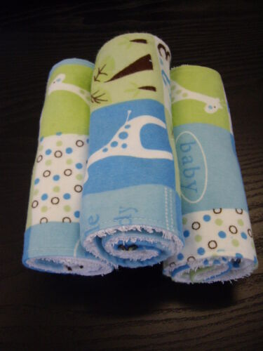 Little Buddy Blue Burp Cloths Set of 3 Towelling Backed GREAT GIFT IDEA!!