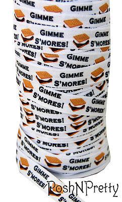 Designer 3 Yards 5/8 Print Fold Over Elastics FOE - Gimme S'Mores marshmallow