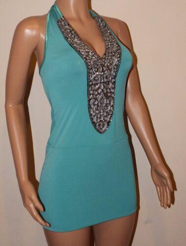 aderente aderente Mini Bnwt con paillette abito Vicky 8 10 Martin turchese blu verde wSaxqFRR