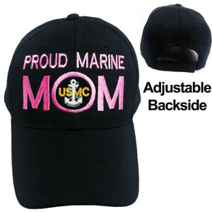 2247e90685e PROUD US MARINE MOM CAP HAT    PROUD MARINE MOM    BLACK BASEBALL ...