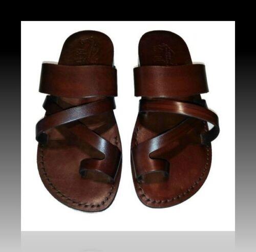 Mens Brown Biblical Leather Sandals Jesus Strap Sandal Shoes Size US 7 EU 39