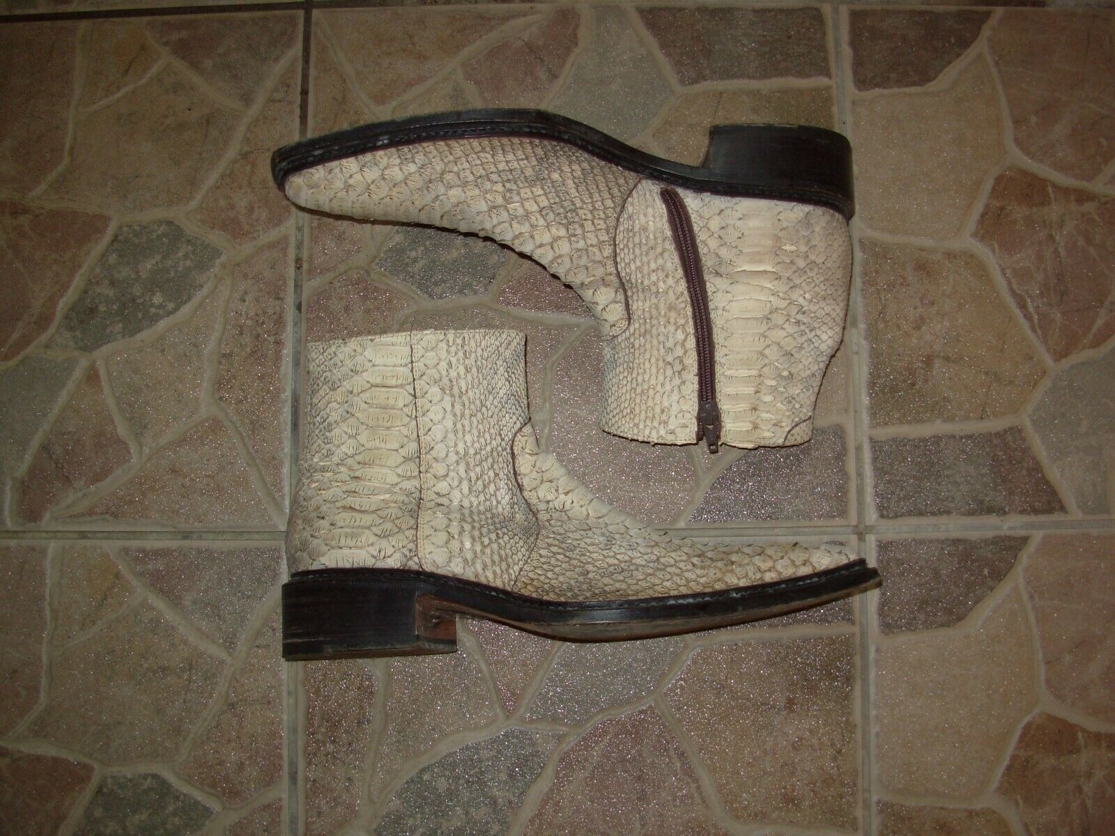 Ebano Western Style Snake Skin Leather Hand Made Cowboy Boots size 42