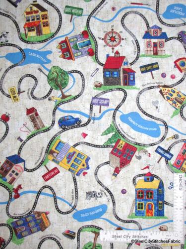 House Neighborhood Road Car Cotton Fabric Timeless Treasures Row C4492 Yard