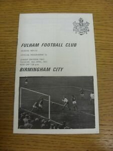 18-04-1972-Fulham-v-Birmingham-City-Team-Changes-Thanks-for-viewing-our-item