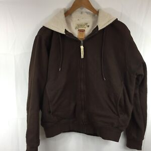 1f42d6e608f Details about CE Schmidt Workwear Womens Brown Full Zip Hoodie Sherpa Lined  Coat Size M 10-12