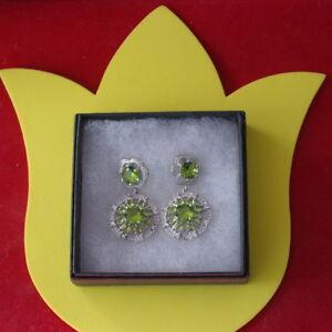 Elegant Silver Earrings With Peridot & White Cz.10.6 Gr.3.5 Cm. Long In Gift Box