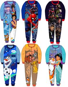 Details about  /Disney All In One Pyjamas Boys Girls PJs Kids Super Soft Fleece