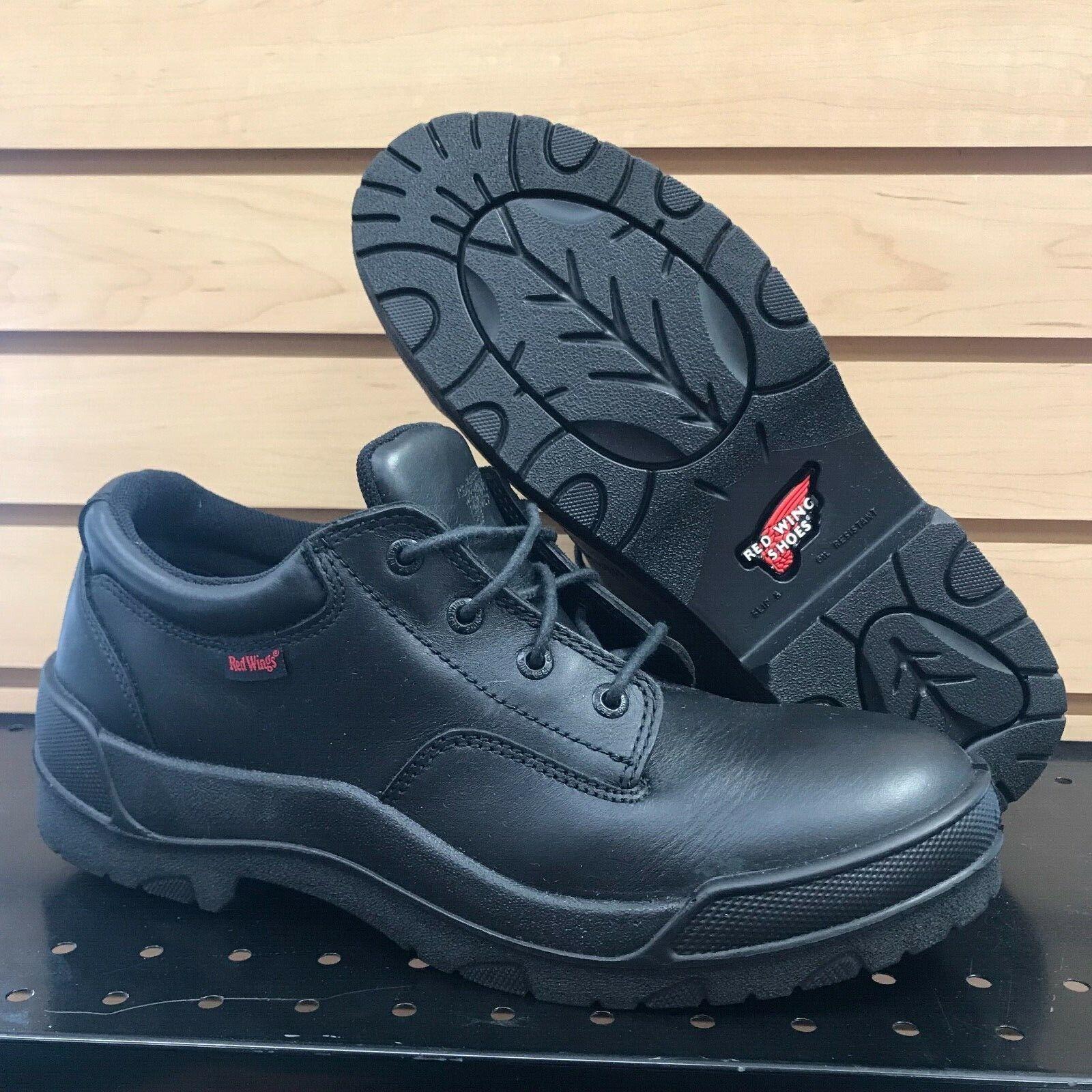9.5 D rojo Wing zapatos Hecho en EE. UU. Negro Cuero Oxford 110 EH Vintage vestido de trabajo