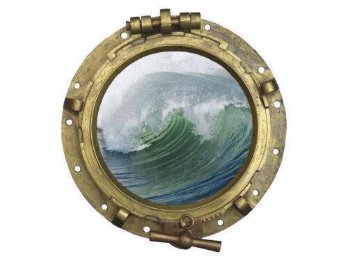 Wandsticker Sticker Wandaufkleber für Badezimmer Bullauge Welle Wasser Meer