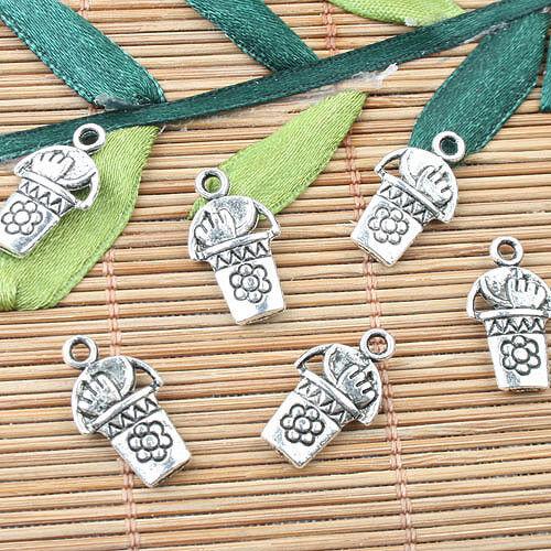 Tibetan Silver Color 2 Sided outil Tonneau Design Charms 16pcs EF0001