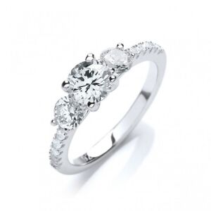 Sterling Silver three stone Round trilogy ring 3g Sizes J-Q