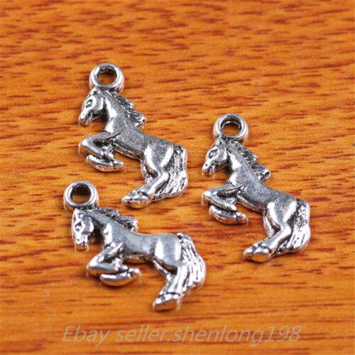 50pcs 20*10mm Charms 3D horse pendant Diy Jewelry Making Tibetan Silver E7237