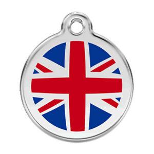 Engraved-Dog-Cat-ID-identity-Tags-discs-UK-FLAG-Union-Jack-Red-Dingo-1UK