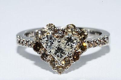 $5,390 1.25Ct Heart Cluster Natural Cognac & White Diamond Ring 18K White Gold