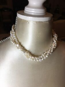 Triple-Strand-Twisted-Freshwater-Pearl-Necklace-225-Pearls-Bridal-Gilded-Clasp