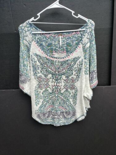 Free People Medium Aztec Knit Top Cream NWOT