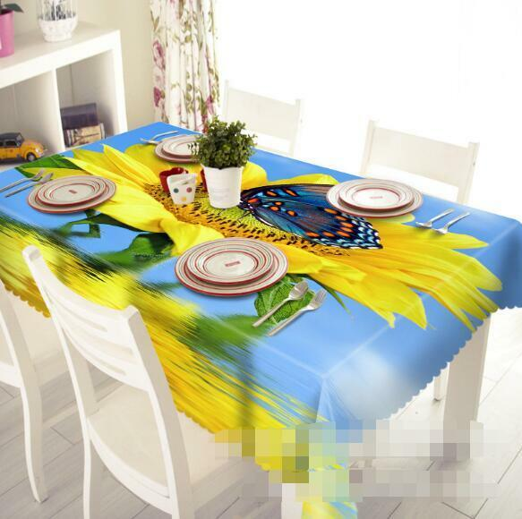 3D Sunflower 5 Tablecloth Table Cover Cloth Birthday Party Event AJ WALLPAPER AU
