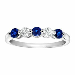 5-8-ct-Created-Blue-amp-White-Sapphire-Band-Ring-in-10K-White-Gold