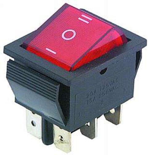 rote Wippe 250V//15A Wippenschalter Einbauschalter EIN//AUS//EIN S16