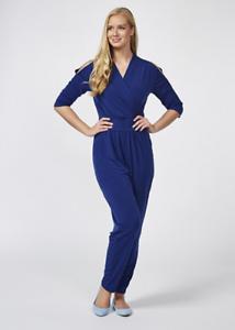 Kim & Co Brazil Knit Wrap Front Jumpsuit Regular Dark Royal 3XL
