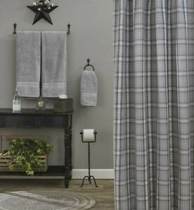 HARTWICK-Plaid-Shower-Curtain-Farmhouse-Gray-Cottage-Country-Park-Designs