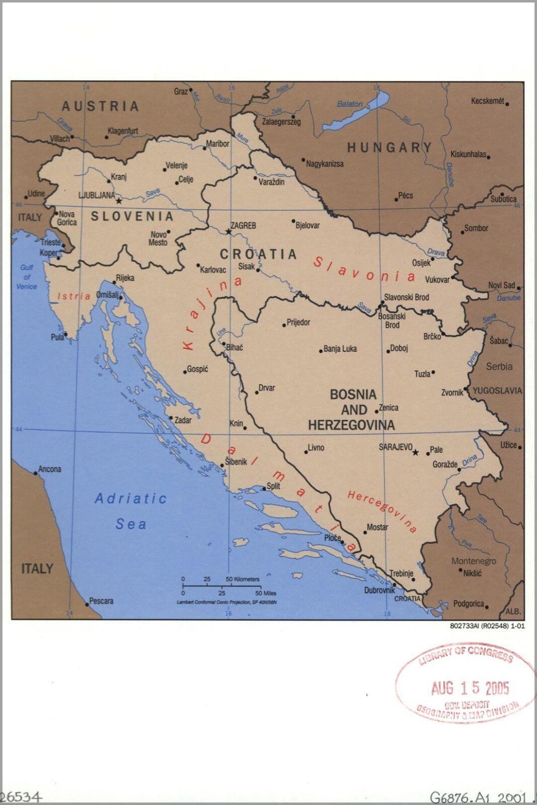 Plakat, Viele Größen; Cia Karte Slowenien