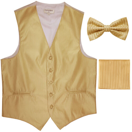 New Men/'s Formal Vest Tuxedo Waistcoat/_bowtie /& hankie set stripes gold party