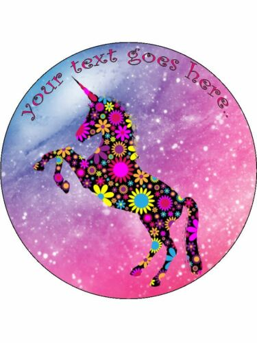 Icing edible Round Cake topper Unicorn floral pink rainbow girly custom wafer