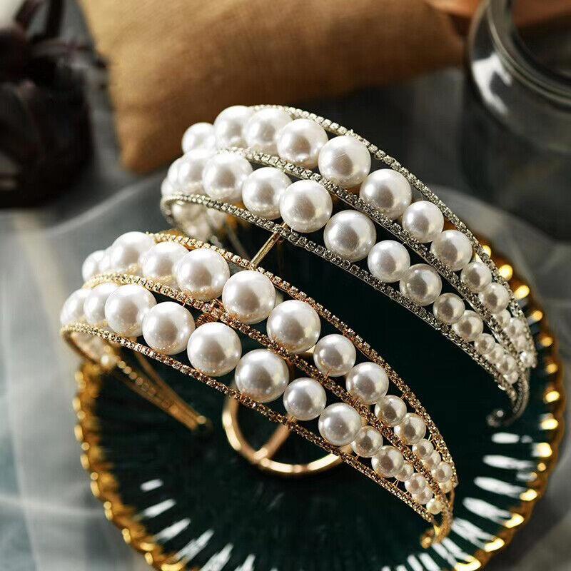 European Gold/Silver Pearls Brides Crystal Tiaras Crowns Bridal Headpieces