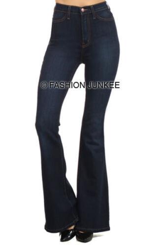 DARK BLUE WASH PLUS SIZE FLARED Jeans High Rise Waist Waisted Denim 1X 2X 3X