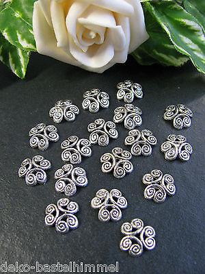 15 Perlkappen, 11,5 mm in silber, Perlen basteln, Schmuck herstellen, Endkappen