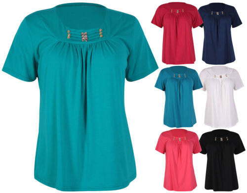 Womens New Bead Stud Neck Ladies Ruched Gathered Stretch T-Shirt Top Plus Size