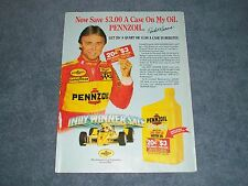 1987 Rick Mears Pennzoil Indy Winner Sale Vintage Ad