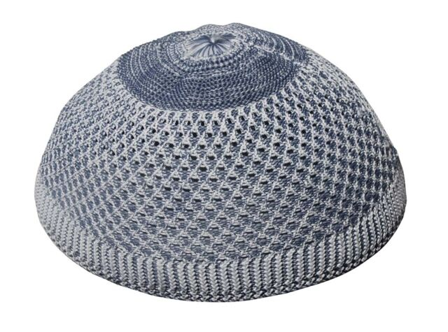 c5d65fcb550 Muslim Kufi Hat Skull Beanie Cap MEDIUM Faded Gray Open-weave Design Nylon  Topi