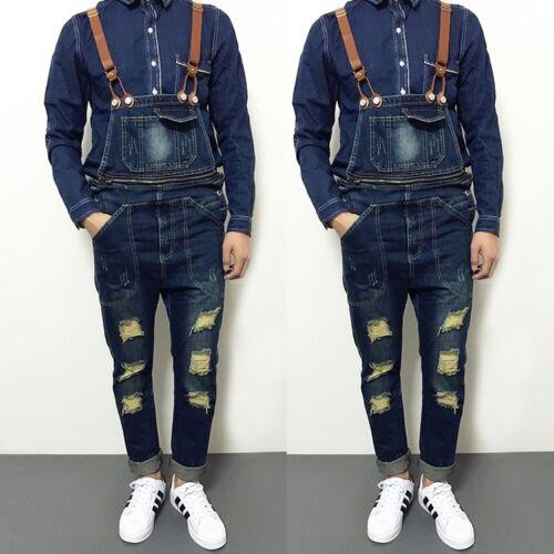 Classic Distressed Men Denim Jumpsuits Overalls Suspender Trousers Straight Jean