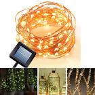 10m 100 LED Solar Lichterkette Weihnachten Außen Deko Beleuchtung Draht Leuchte