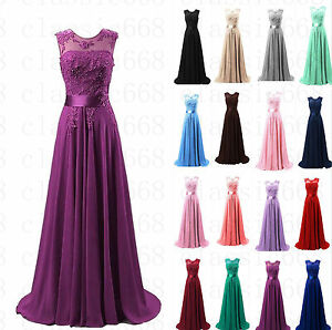 Chiffon-Lace-Long-Dress-Evening-Formal-Evening-Party-Prom-Bridesmaid-Size-6-22