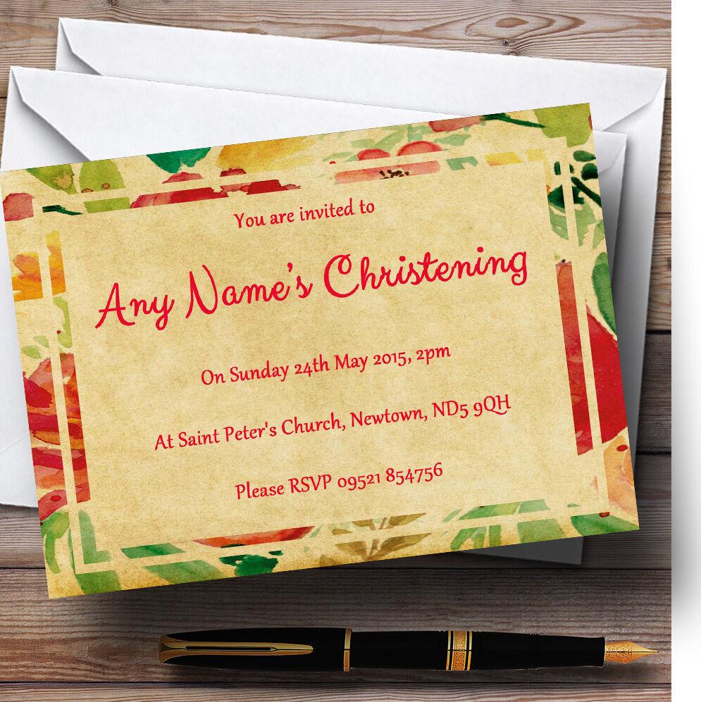 Fleurs jaune rose baptême partie postales de cartes postales partie invitations personnalisées 7558b9