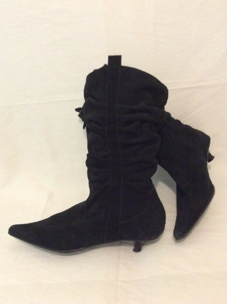 New Look Black Mid Calf Suede Boots Size 8