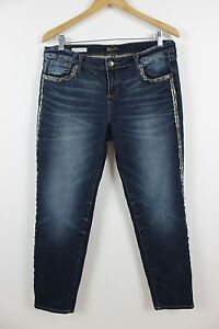 Kut-from-the-Kloth-Adele-Slouchy-Boyfriend-Beaded-Dark-Blue-Jeans-Size-8