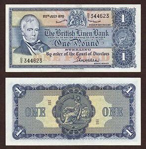 LAST PREFIX 1970 £1 BRITISH LINEN in EF.  Prefix  D/5