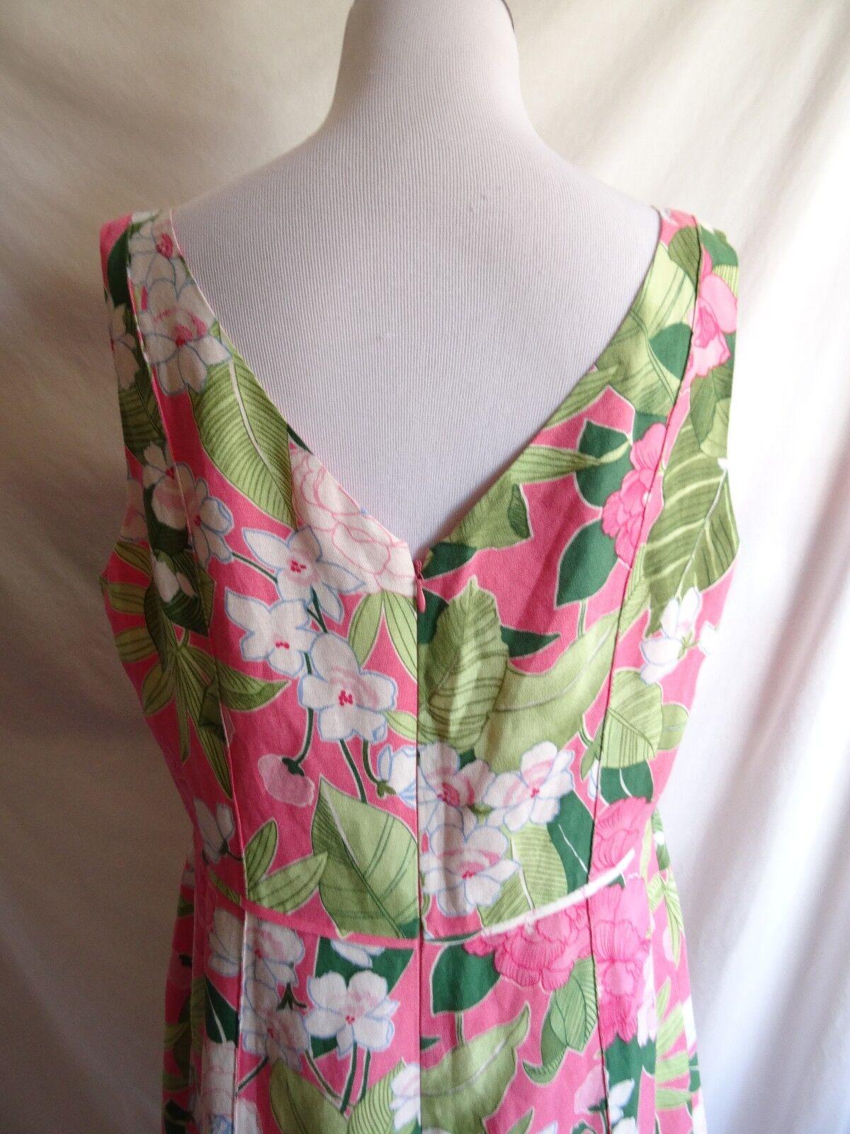 Adrianna Papell 14 Pink & Green Tropical Hawaiian Flower Flower Flower Leaf Print Linen Dress 5a500f