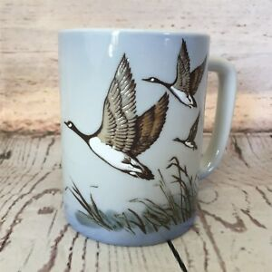 Otagiri-Geese-In-Flight-Coffee-Mug-Stoneware-Embossed-Blue-Japan-Goose-Vintage