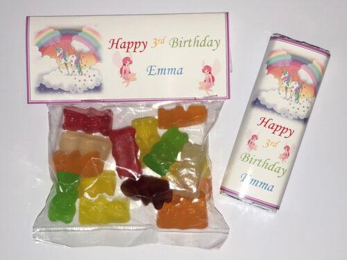 30 chaque Personnalisé Fête D/'Anniversaire Sweet Sac /& Chocolat wrappers faveurs SW51