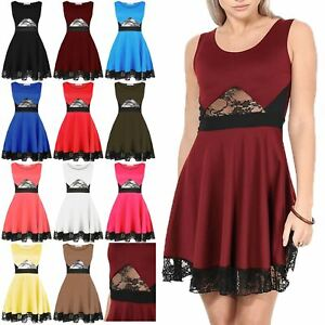 Womens Ladies Party Flared Franki Waist Lace Scoop Neck Sleeveless ... 93cfb607a
