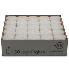 50 Teelichter - ca. 8 Stunden Brenndauer - Nightlights transparente Hülle - Weiß