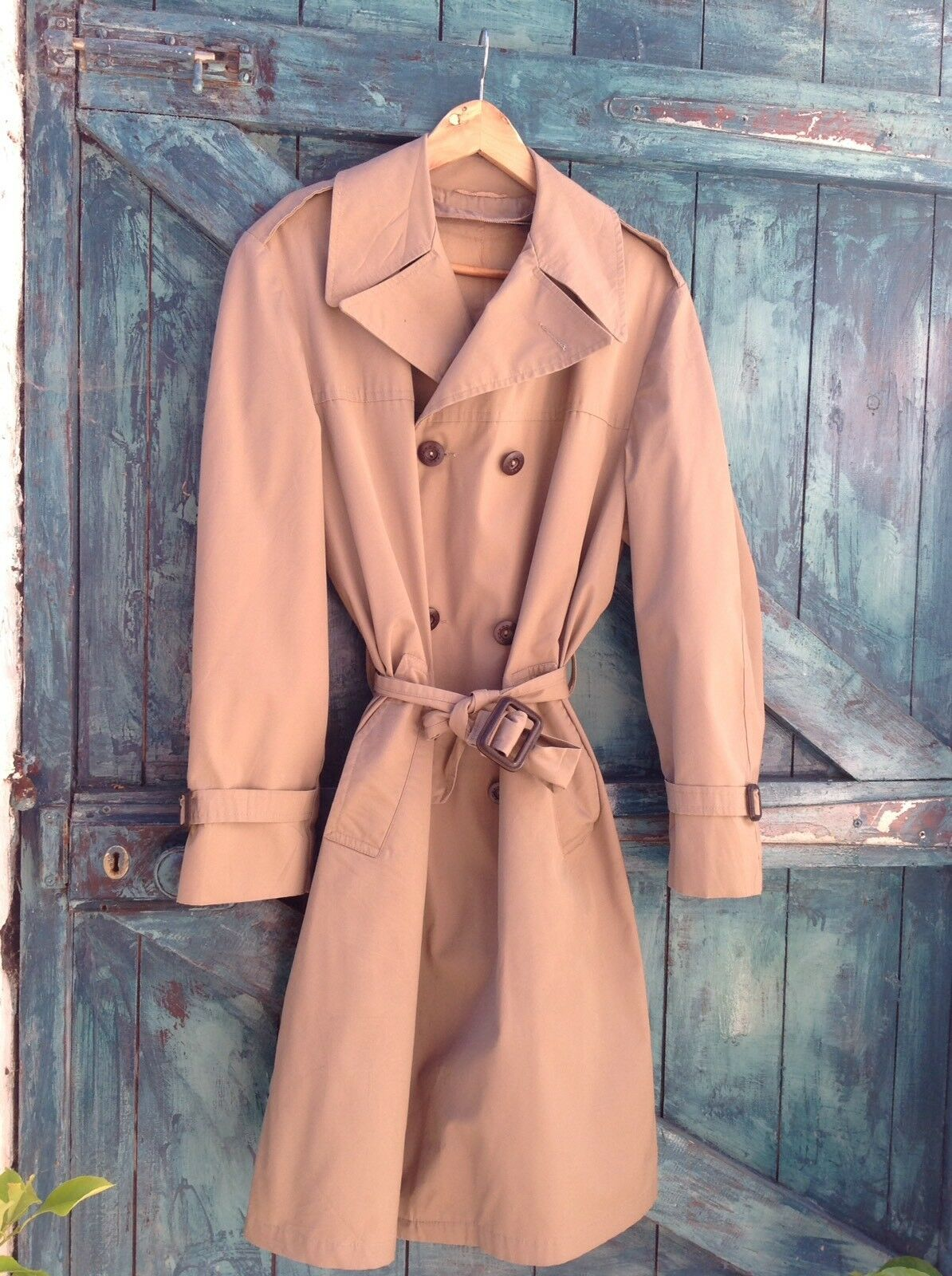 Mens Trench Coat Size M Beige Raincoat Mac Vintage Sterlingwear Boston Unique Vg