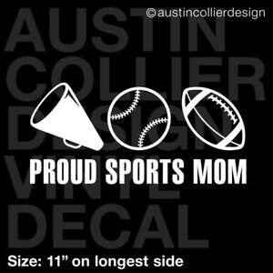 "baseball football 8/"" Proud MOM white vinyl decal car smooth surface sticker"