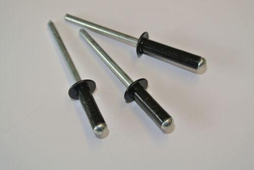 4.8mm x 35mm Blind Pop Rivets Black Dome Open Aluminium Body Steel Stem 100 PACK