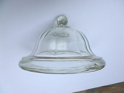 1980s Indiana Glass Clear Round Paneled Glass Compote Lid w/ Ball Top - Lid only